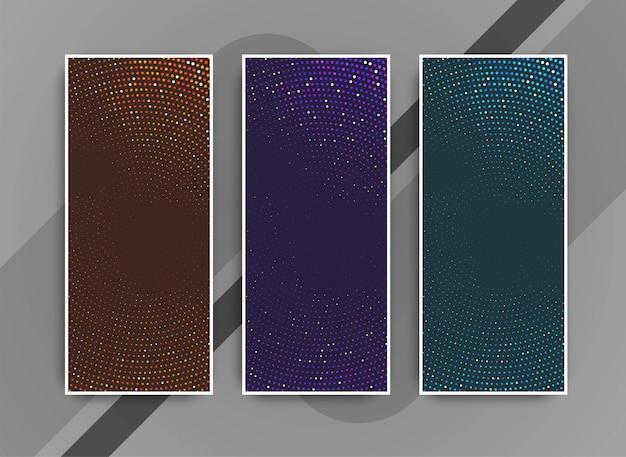 Jeu de bannières abstraites de points modernes colorés Vecteur gratuit