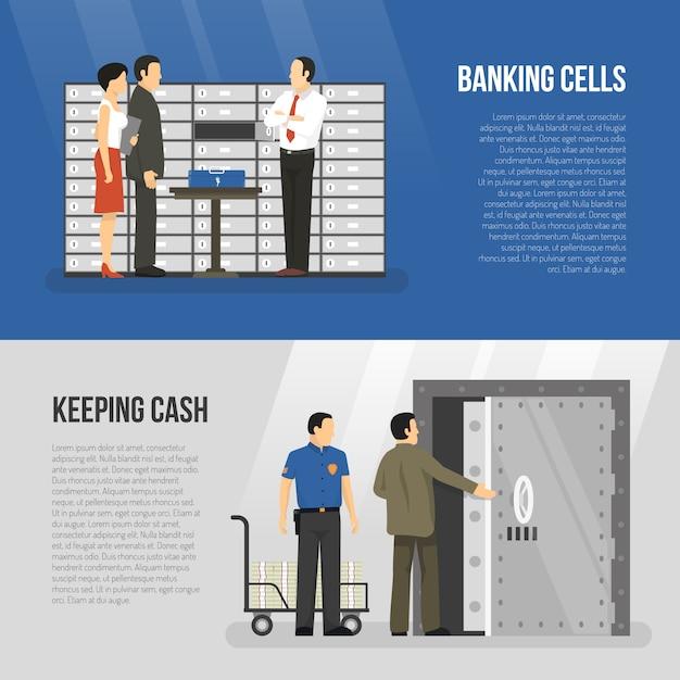 Jeu de bannières de banque Vecteur gratuit