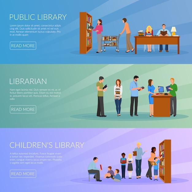 Jeu de bannières de bibliothèque Vecteur gratuit