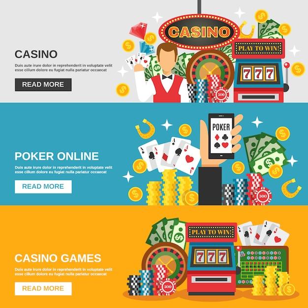 Jeu de bannières de casino Vecteur gratuit