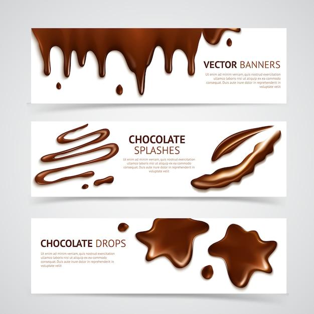 Jeu de bannières en chocolat Vecteur gratuit