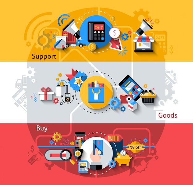 Jeu de bannières de commerce électronique Vecteur gratuit