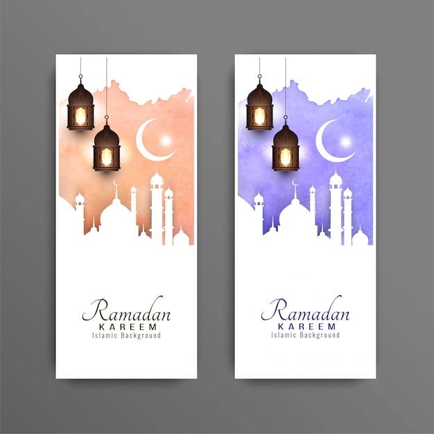 Jeu de bannières décoratives abstrait ramadan kareem Vecteur gratuit