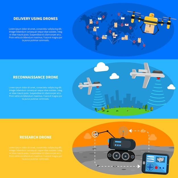 Jeu de bannières de drones Vecteur gratuit