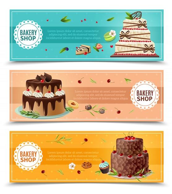 Jeu De Bannières De Gâteaux Vecteur gratuit