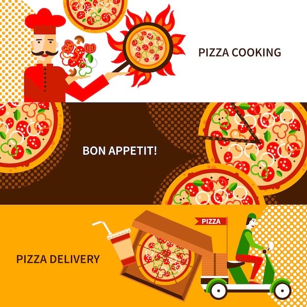 Jeu de bannières horizontales de livraison de pizza Vecteur gratuit