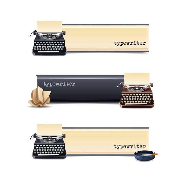 Jeu de bannières horizontales de machine à écrire Vecteur gratuit