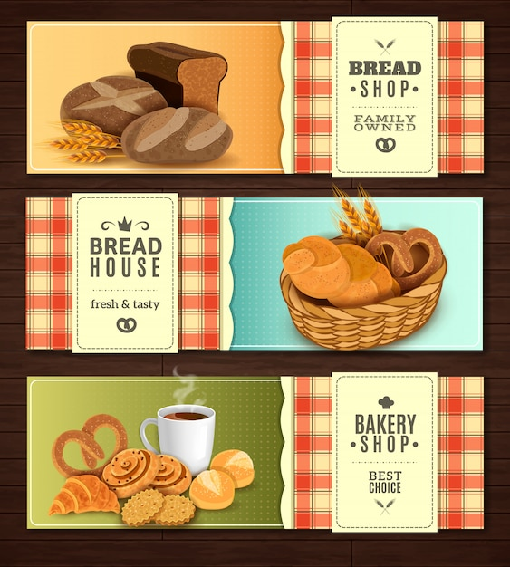 Jeu de bannières horizontales de pain maison Vecteur gratuit