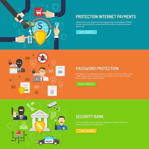 Jeu de bannières horizontales de sécurité bancaire Vecteur gratuit