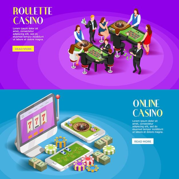 Jeu de bannières isométriques casino Vecteur gratuit