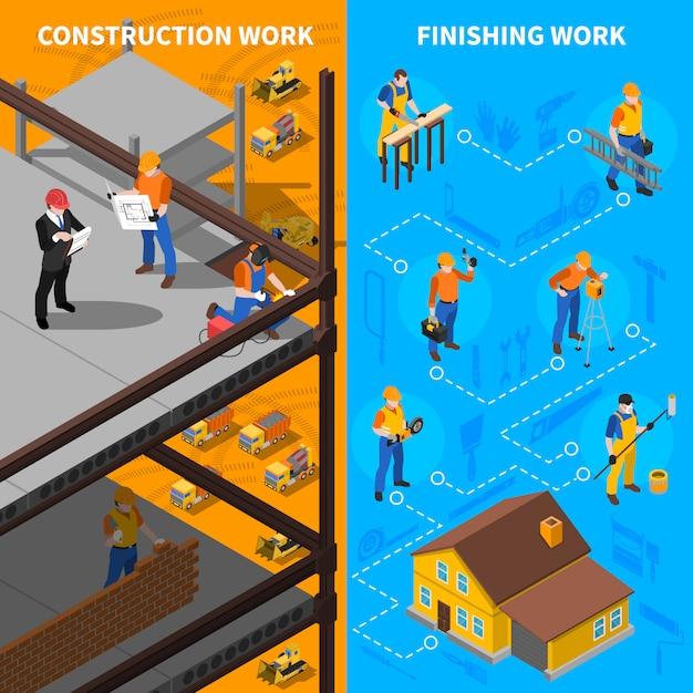 Jeu de bannières isométriques de travailleurs de la construction Vecteur gratuit