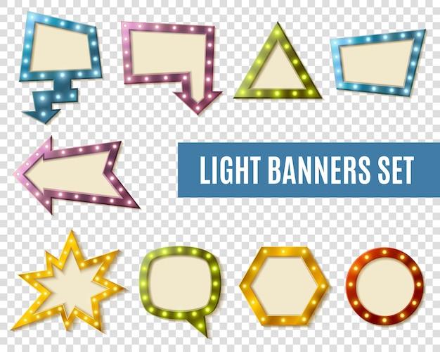 Jeu de bannières lumineuses transparent Vecteur gratuit