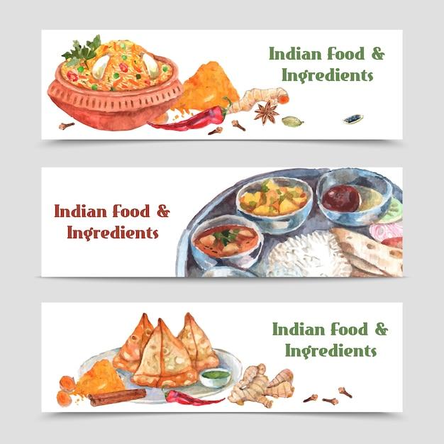 Jeu de bannières de nourriture indienne Vecteur gratuit