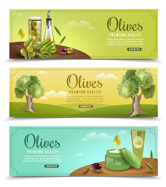 Jeu de bannières olive Vecteur gratuit