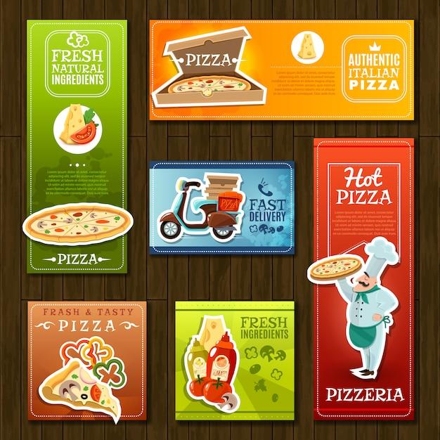 Jeu de bannières de pizza Vecteur gratuit