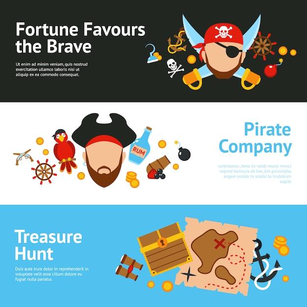 Jeu De Bannières Plat Concept Pirate Vecteur gratuit