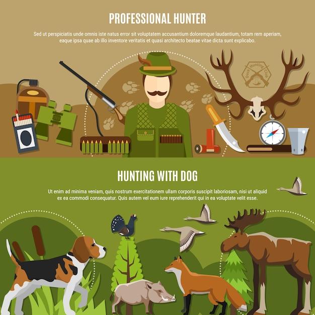 Jeu de bannières professionnel hunter Vecteur gratuit