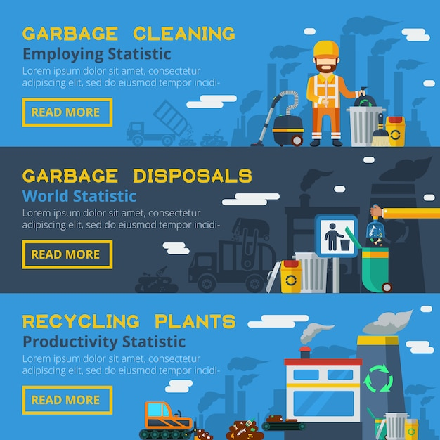 Jeu de bannières de recyclage des ordures Vecteur gratuit