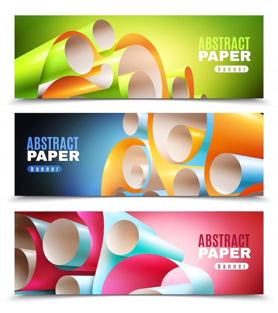Jeu de bannières en rouleau de papier Vecteur gratuit