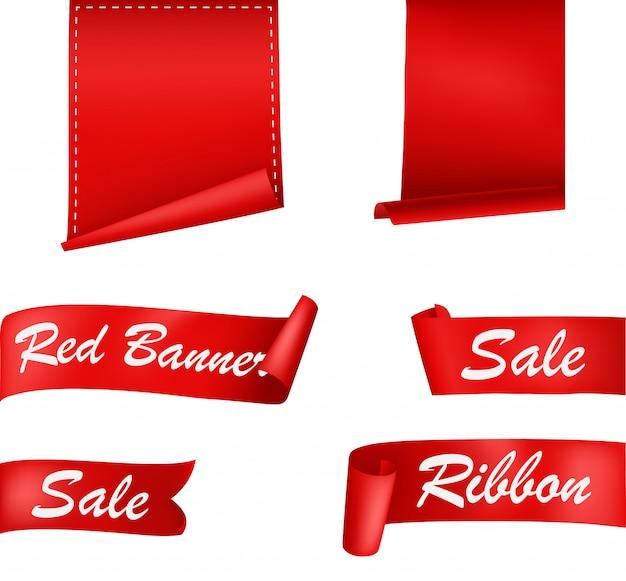 Jeu de bannières de rubans rouges Vecteur Premium