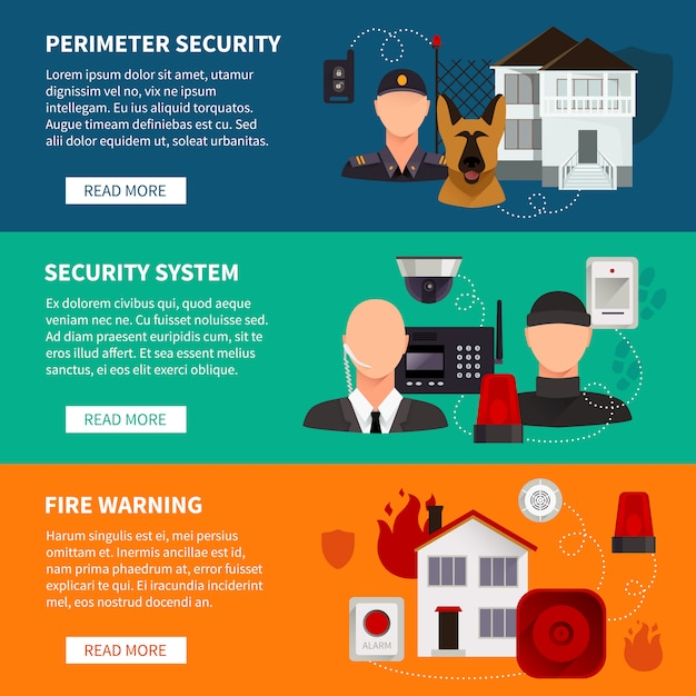 Jeu de bannières de sécurité à la maison de l'avertissement de feu de système électronique de sécurité Vecteur gratuit