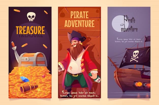 Jeu De Bannières Verticales Aventure Pirate Vecteur gratuit