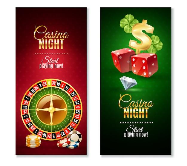 Jeu de bannières verticales casino night 2 Vecteur gratuit