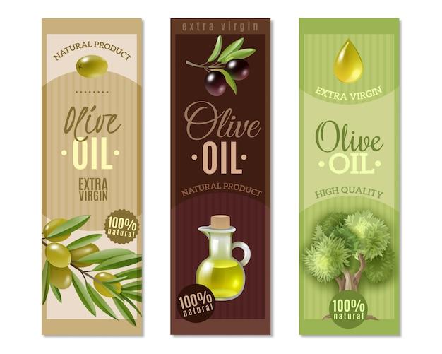 Jeu De Bannières Verticales Olive Vecteur gratuit