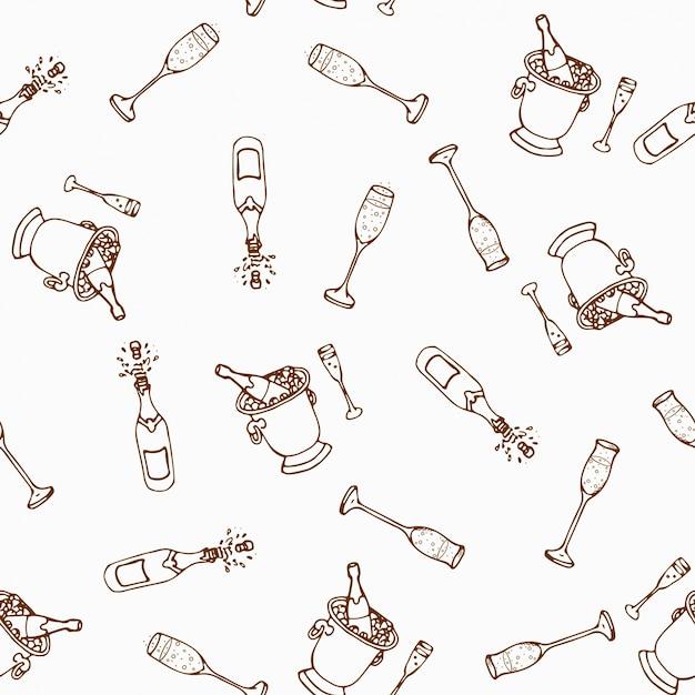 Jeu De Boissons Alcoolisées De Modèle Sans Couture De Vin. Vecteur Premium