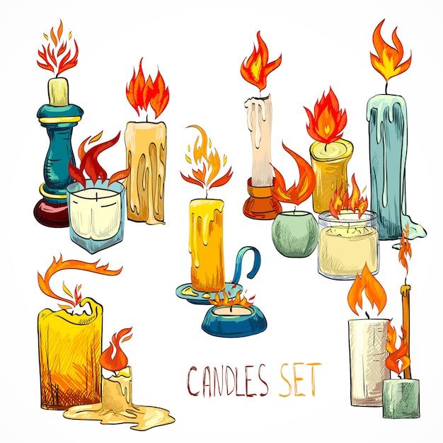Jeu de bougies dessin Vecteur gratuit