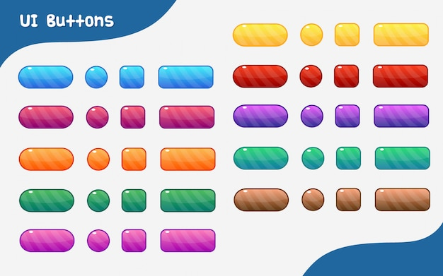 Jeu de boutons d'interface utilisateur graphique coloré de vecteur Vecteur Premium