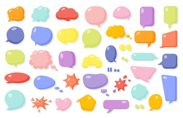 Jeu De Bulle De Bande Dessinée Comique. Boîte De Texte Vide Ballons De Différentes Formes. Modèle De Message De Bande Dessinée Vecteur Premium