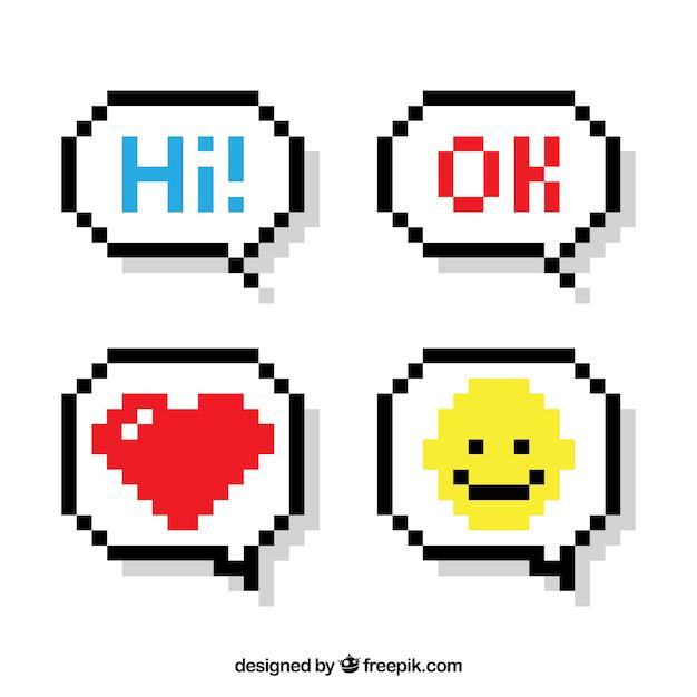 Jeu de bulles de la parole avec des messages et des icônes Vecteur gratuit