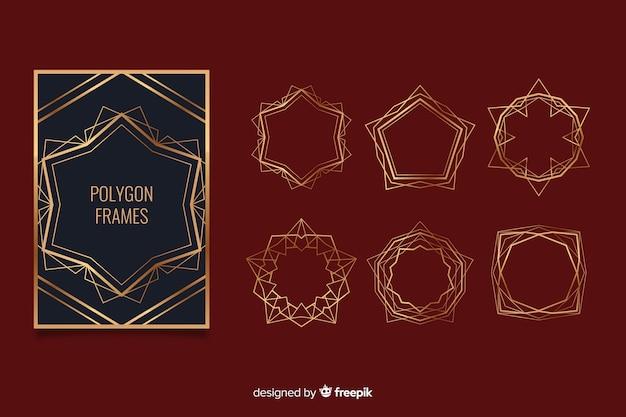 Jeu de cadre doré polygonal Vecteur gratuit