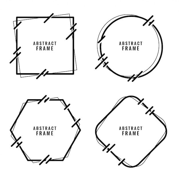 Jeu de cadres de style lignes abstraites élégantes Vecteur gratuit