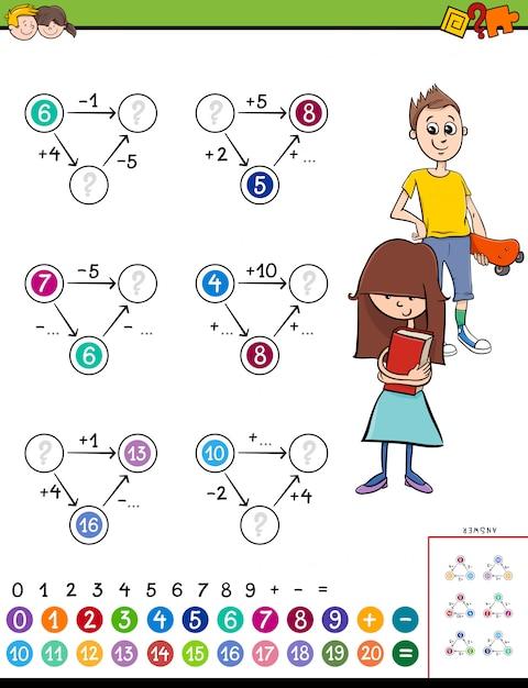 Jeu de calcul mathématique éducatif Vecteur Premium