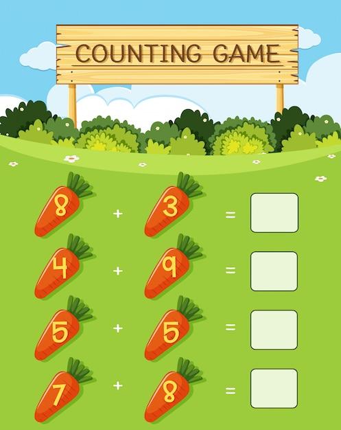 Un jeu de calcul mathématique Vecteur Premium