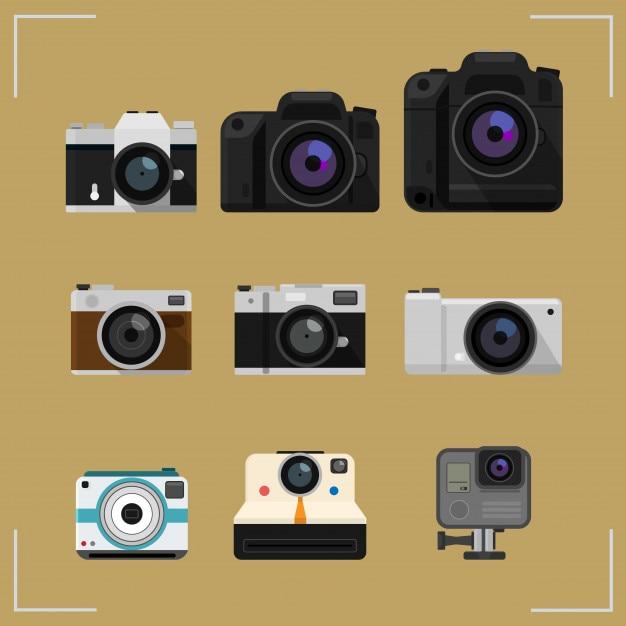 Jeu de caméra isolé sur les icônes du design plat fond Vecteur Premium