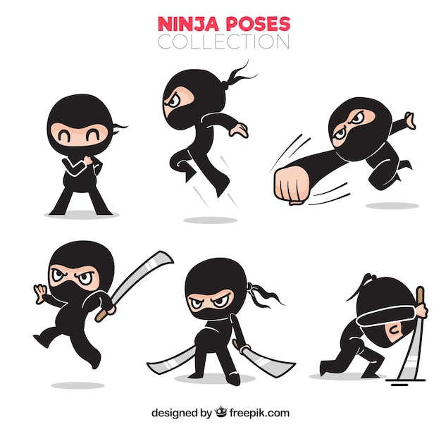 Jeu de caractère ninja traditionnel dessinés à la main Vecteur gratuit