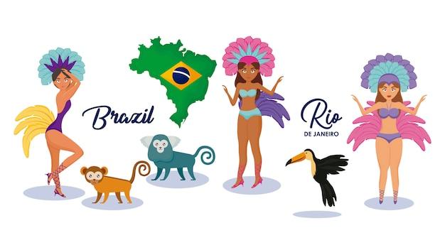 Jeu de caractères et d'animaux de la culture brésilienne Vecteur Premium