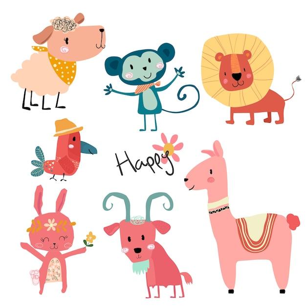 Jeu de caractères d'animaux sauvages dessin animé mignon Vecteur Premium