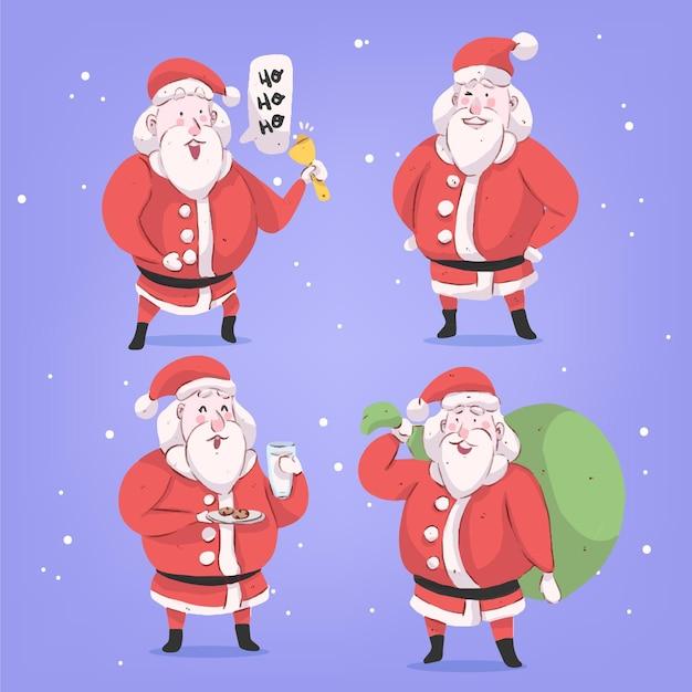 Jeu De Caractères Aquarelle Santa Claus Vecteur gratuit