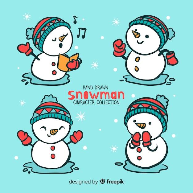 Jeu de caractères de bonhomme de neige Vecteur gratuit