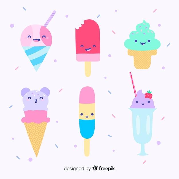 Jeu de caractères de crème glacée kawaii dessinés à la main Vecteur gratuit