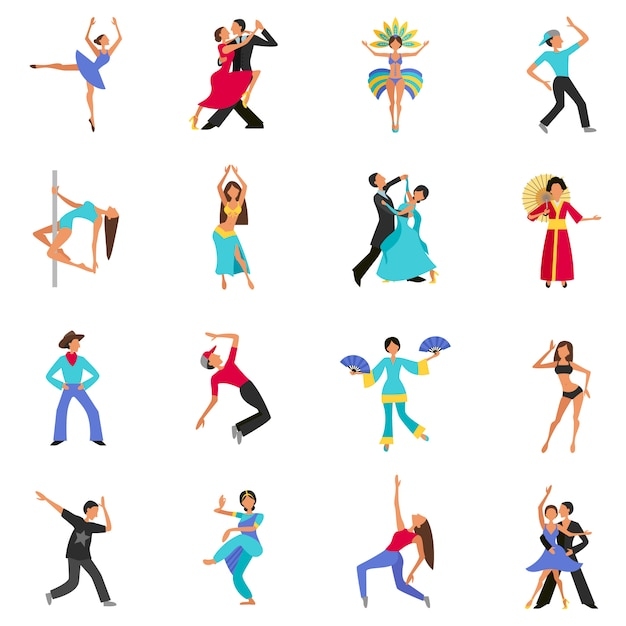 Jeu de caractères de danse Vecteur gratuit