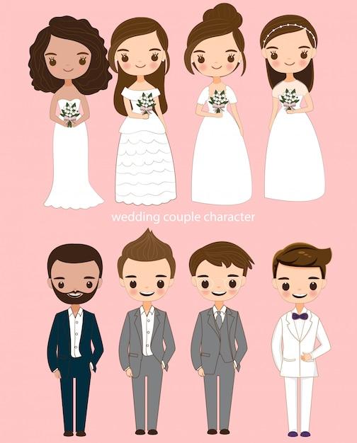 Jeu de caractères de dessin animé mignon mariée et le marié Vecteur Premium