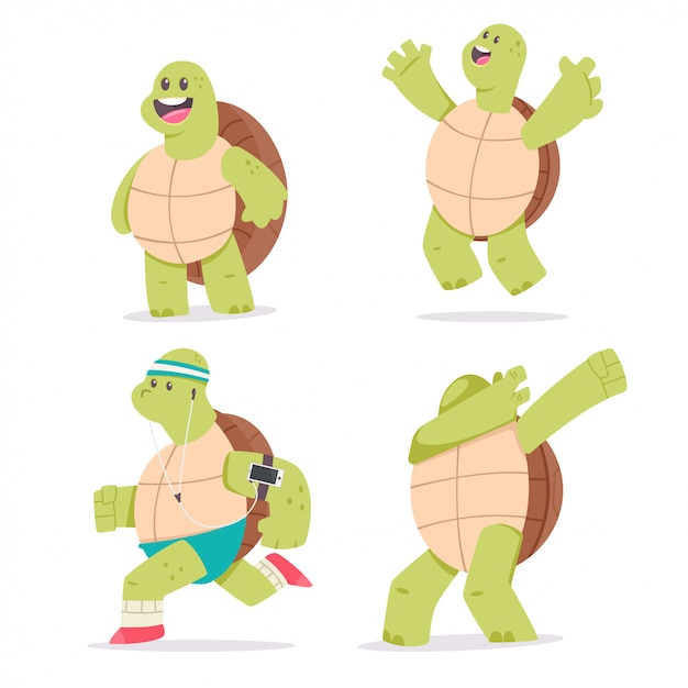 Jeu de caractères de dessin animé mignon tortue. illustration d'animal drôle de mascotte isolé sur fond blanc. Vecteur Premium