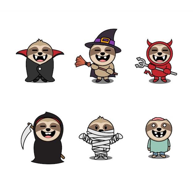 Jeu de caractères de dessin animé de paresse d'halloween Vecteur Premium