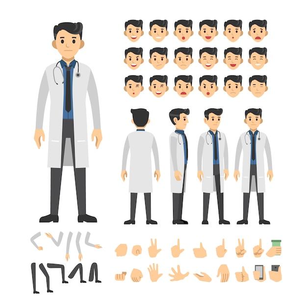 Jeu de caractères de docteur homme Vecteur Premium