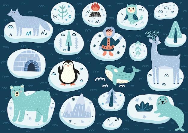 Jeu De Caractères Du Pôle Nord. Collection Mignonne D'animaux De L'arctique. Illustration Vecteur Premium